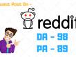 Get you DOFOLLOW UNIQUE BACKLINK on Reddit - Reddit.com DA 98