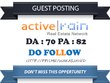 Do Real Estate Guest Post On Activerain Dofollow [DA 70]