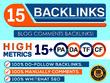 Do 15 Backlinks in High PA/DA CF/TF 15+ Do Follow Blog Comments