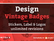 Design 3 concept vintage badges, stickers, label & logos