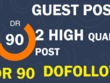 Write and post on 2 Different dr90 blog dofollow backlinks