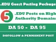 EDU Guest Posting - 5 Posts on High Authority EDU sites - DA50+