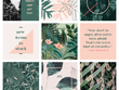 Create 9 curated images for a beautiful instagram feed