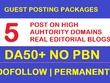 Publish 5 Guest posts on Premium DA50+ Blog/News Magazines Site