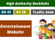 High authority backlink on entertainment website