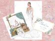Create  set of three wedding illustrations.
