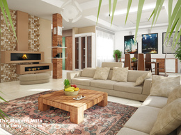 Design and render a 3d photorealistic render of an interior