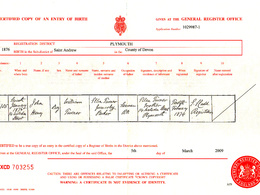 Research and supply a family marriage, birth or death certificate