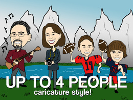Illustrate a 1 to 4 Person Caricature