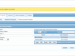 Create a customer/product/order database and mailshot website