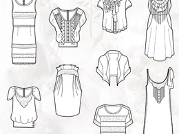 Create one detailed fashion cad spec front and back