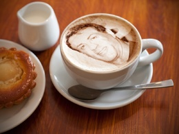 Add your photo in the froth of a cup of cappuccino/coffee cup