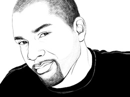 Caricature realistic black and white portrait
