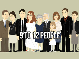 Illustrate a 9 to 12 person Cartoon Portrait