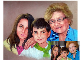 Paint a family/multiple portrait in soft pastels from photographs