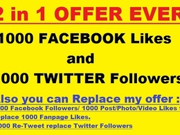 Add 1000+ real twitter followers and 1000+ real facebook likes
