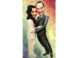Draw romantic caricature for couple in love