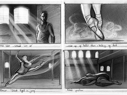 Produce a detailed 10 - 15 frame storyboard in black and white