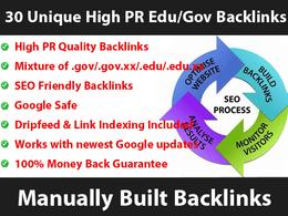 Manually build 30 Unique HIGH PR Edu and Gov Blog Comment Backlinks