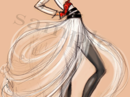 Draw a fashion illustration in traditional or stylized style