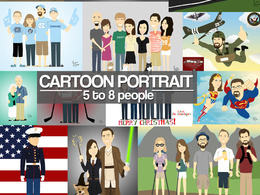 Illustrate a 5 to 8 person cartoon portrait