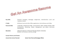 Give you a top notch resume / CV to get that wonderful job