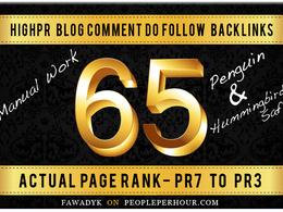 Create MANUALLY 65 Dofollow Blog Comment Seo Backlinks Pr7 to Pr3