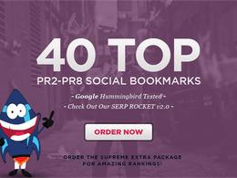 Make 40 top PR8 to PR2 social bookmarks, manually