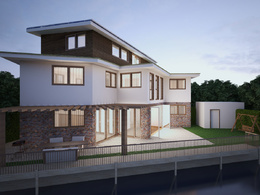 Create a realistic 3D model (exterior design) using 3DsMax, Vray and Photoshop