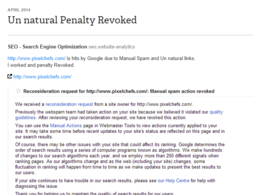 Revoked Google penalties