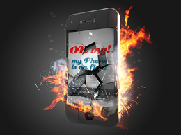 Make iphone on fire mock up