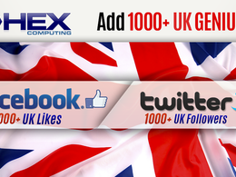 Add 1000+ UK Facebook Likes or UK Twitter Followers