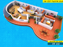 Create a 3D Cut Floor Plan from your 2D Floor Plans for marketing