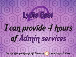 Provide 4 hours of admin services
