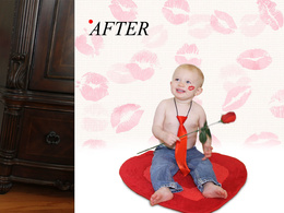 Touch up & create 2 amazing Valentines photos of you or your baby or your LOVE