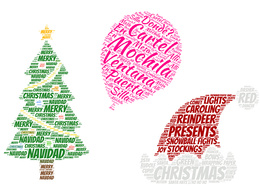 Do christmas WORDCLOUD,in any shape