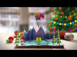 Create cool 3D animated Christmas pop-up Card Book with your logo or message