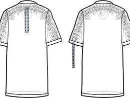 Create technical flat fashion CAD illustration of a garment (front and back)