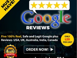 Give you 5 Real 100 % , Safe and Legit Google plus Reviews- USA, UK, Australia