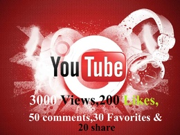 3000 Youtube views,200 Likes,50 comments,30 share & 20 favorites