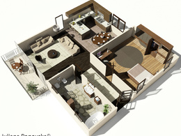 Create a detailed 3D floor plan