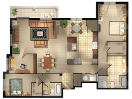 Create a detailed 2D floor plan