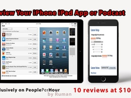 Post 10 review with 5 star rating for iPhone iPad App or Podcast