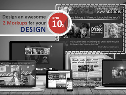 Make you an awesome 2 MOCKUPS for your designs within 1 hour
