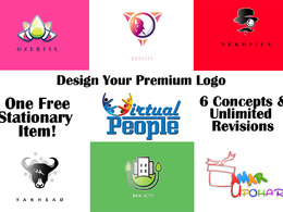 Design your premium logo+ 1 Free stationary item+Unlimited revisions