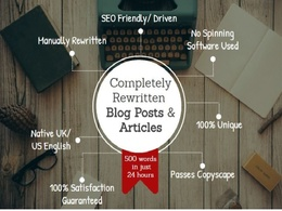 Rewrite your content or article manually upto 600 words