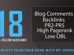 Provide 18 HQ SEO blog comments backlinks PR2 to PR5