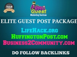 Deliver our Elite Guest Post Package - 3 High Authority Blogs