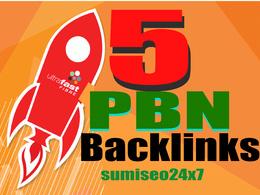 Get 5 Unique High Tf Cf Da Pa 25+ Dofollow Homepage PBN Backlinks