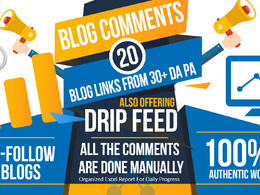 Do 15 Days SEO drip feed daily 20 dofollow blog commenting